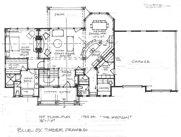 The Madison Timber Frame Home Floor Plan Blue Ox