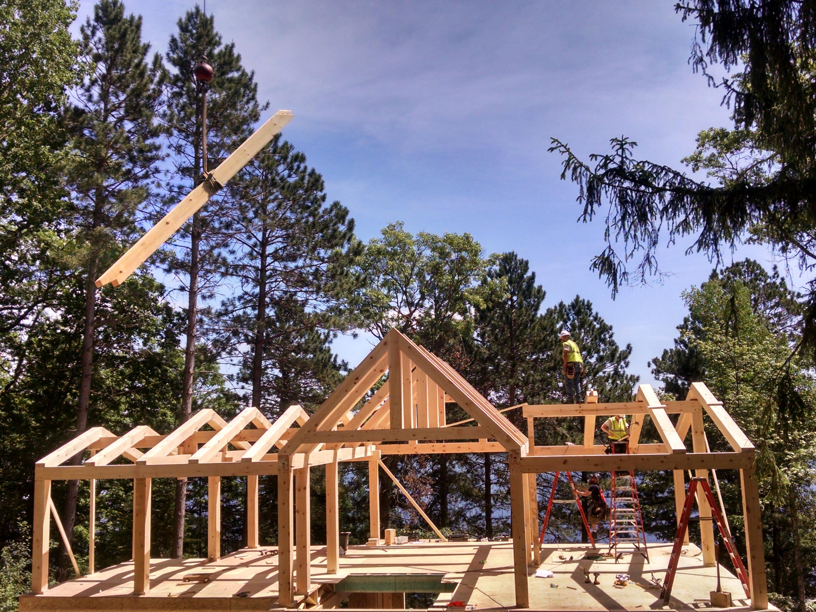 Timber Frame Raising Ewp Cabin Blue Ox Timber Frames