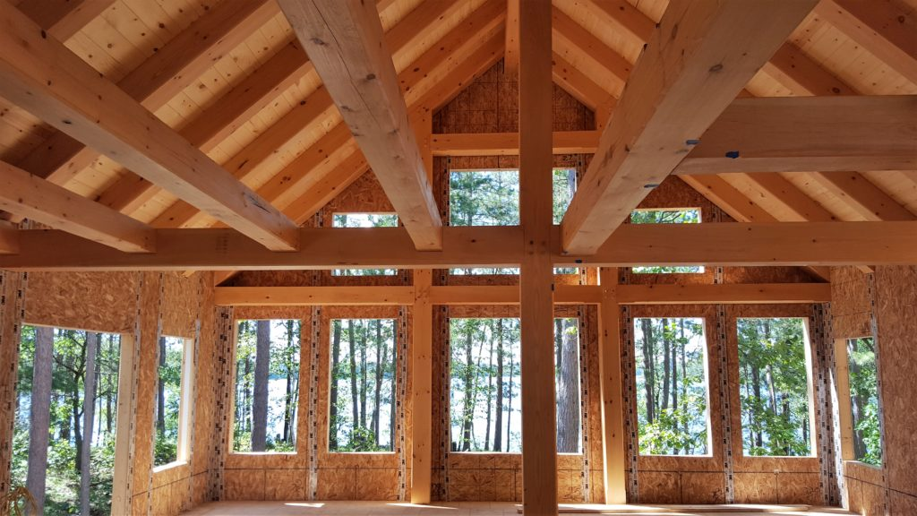 Ewp cabin with sip supported rafters blue ox timber frames for Structural insulated panels texas